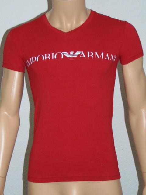 ARMANI T-shirt EA print Red V-hals