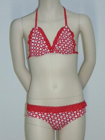 NICKEY NOBEL DOT Red/White Triangle bikinitop + Brief