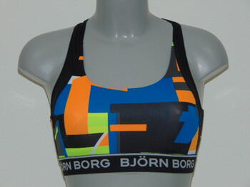 Björn Borg Dames Sport top Black/Orange/Lime print