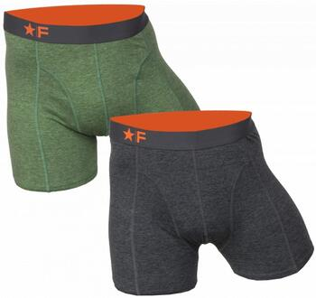 FUNDERWEAR Heren short 2pack Antraciet/Green