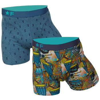 FUNDERWEAR Heren short 2pack  Djembe & Drums Petrol