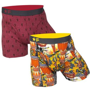 FUNDERWEAR Heren short 2pack  Djembe & Drums Rood