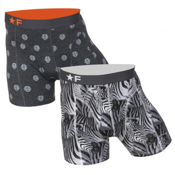 FUNDERWEAR Heren short 2pack Lion & Zebra Grey