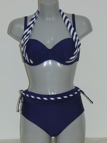 LENTIGGINI STRIPE Navy Halter/Wrap brief bikini